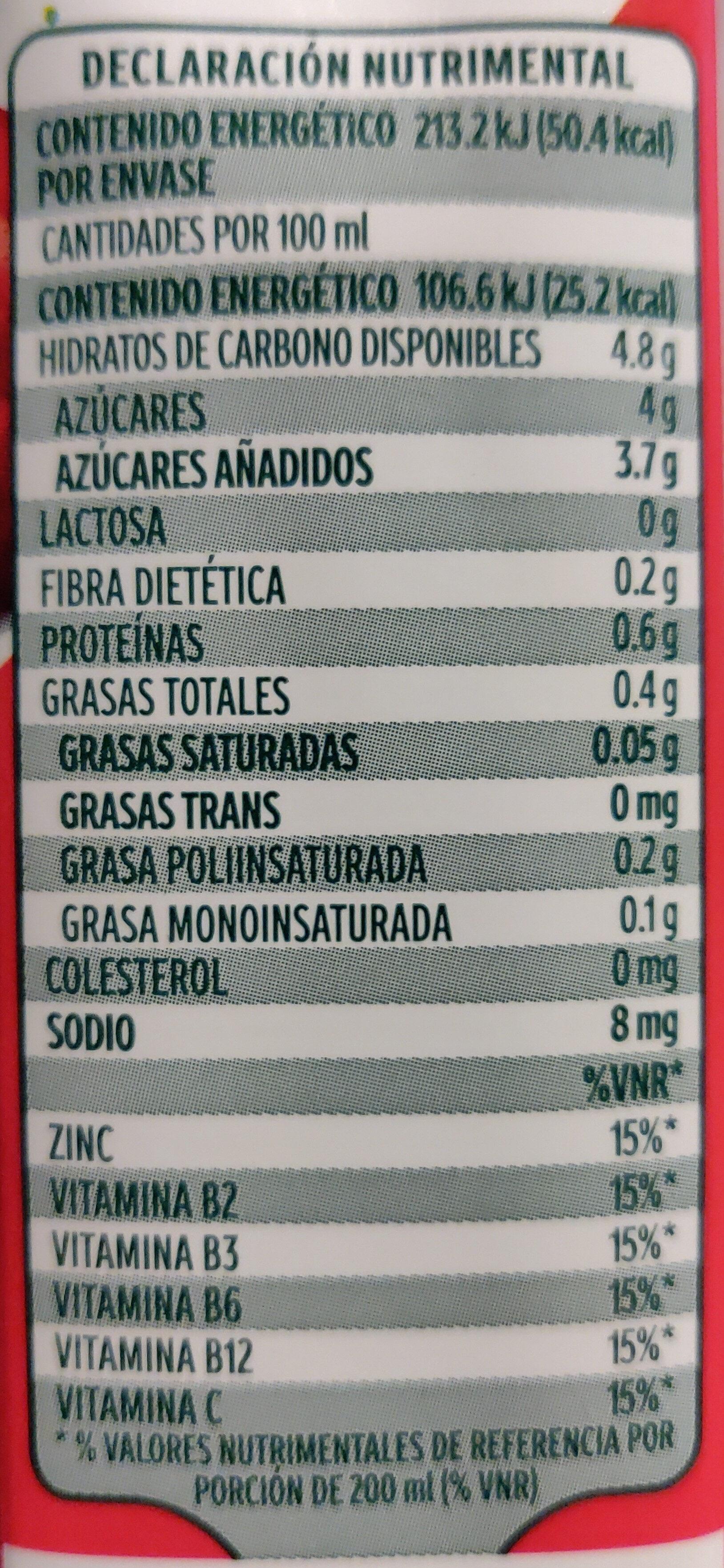 Soya + Jugo de manzana - Información nutricional - es