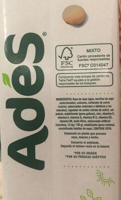 Ades con proteína de soja - Ingrediënten - es