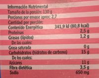SALSA CON CHAMPIÑONES - Nährwertangaben