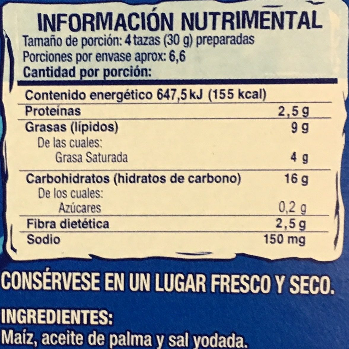 Act II 3 pack sabor natural - Informations nutritionnelles - es
