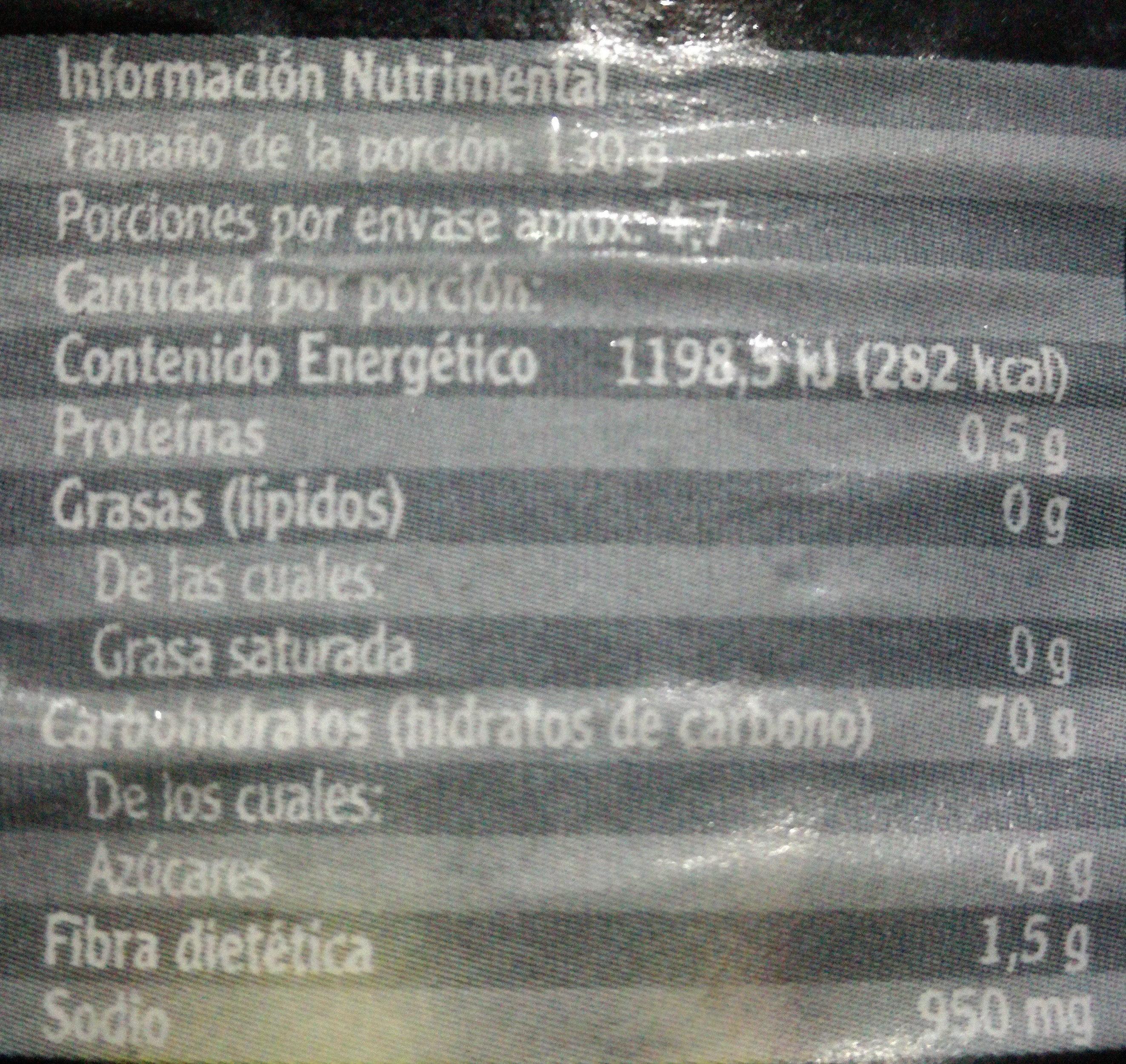 Salsa BBQ Original - Información nutricional - es