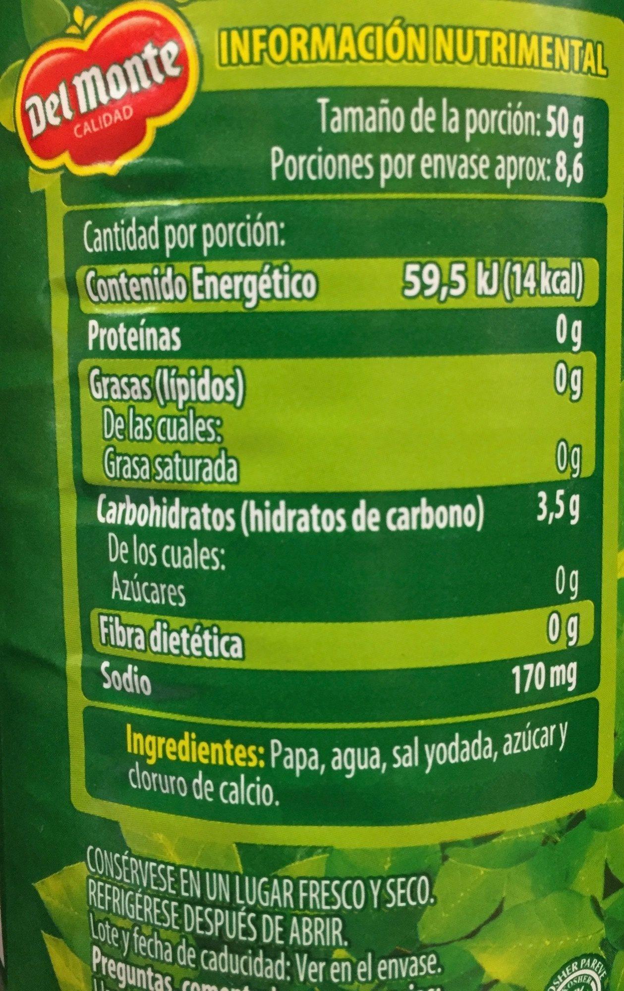 Papa cocida en cubos Del Monte - Informations nutritionnelles