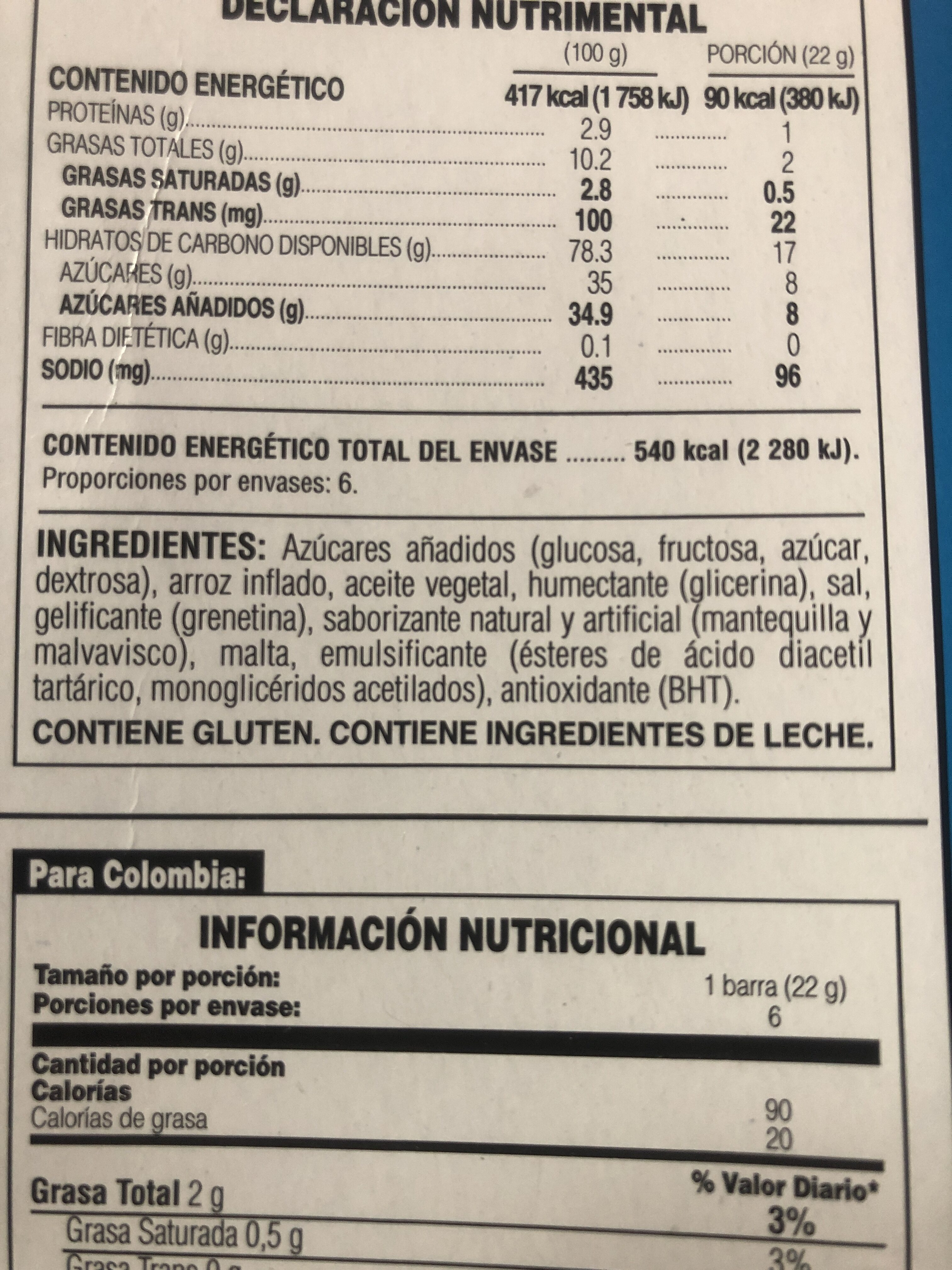 Rice Krispies Treats Barra - Ingredienti - es