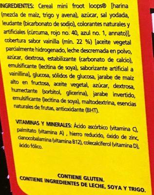 Froot Loops Barra - Ingredients - es