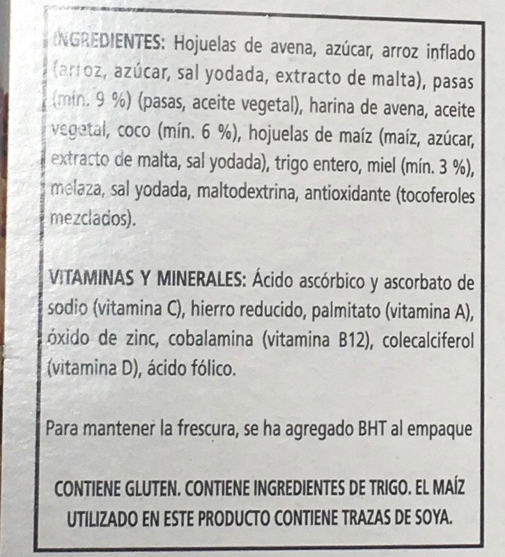 CRUSLI - Ingredients - es
