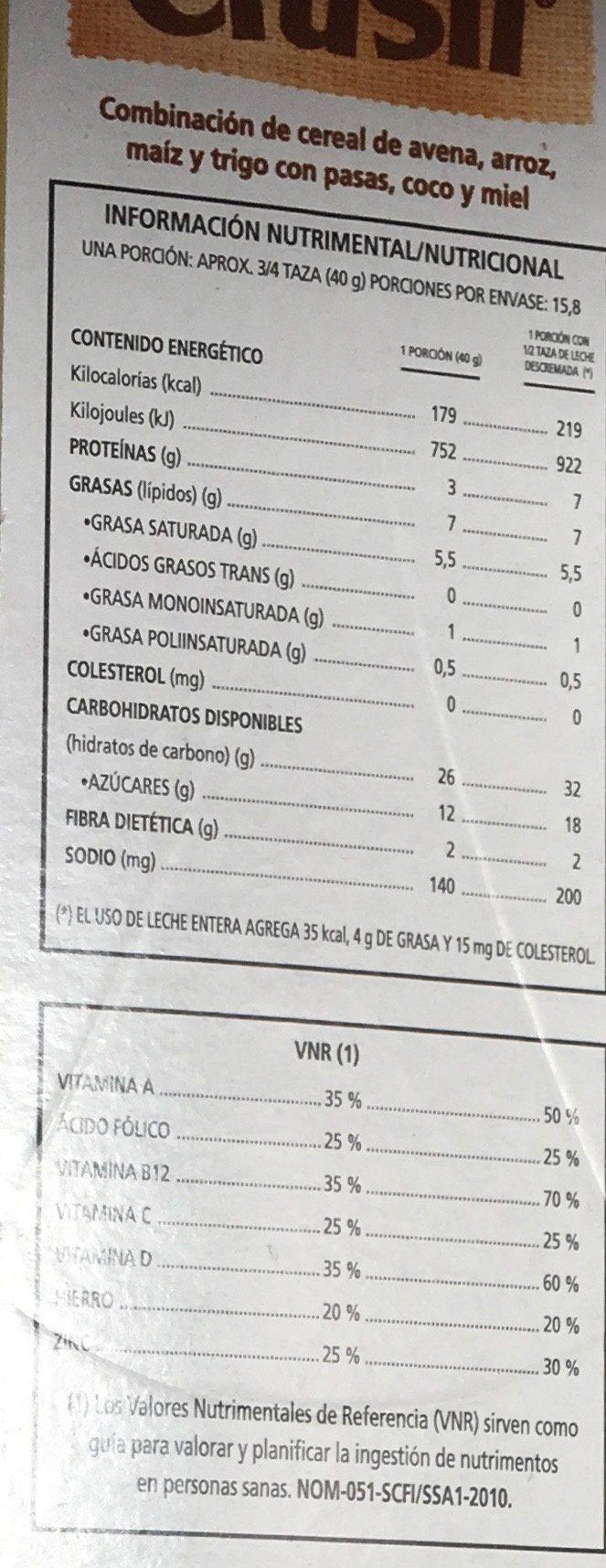 CRUSLI - Nutrition facts - es