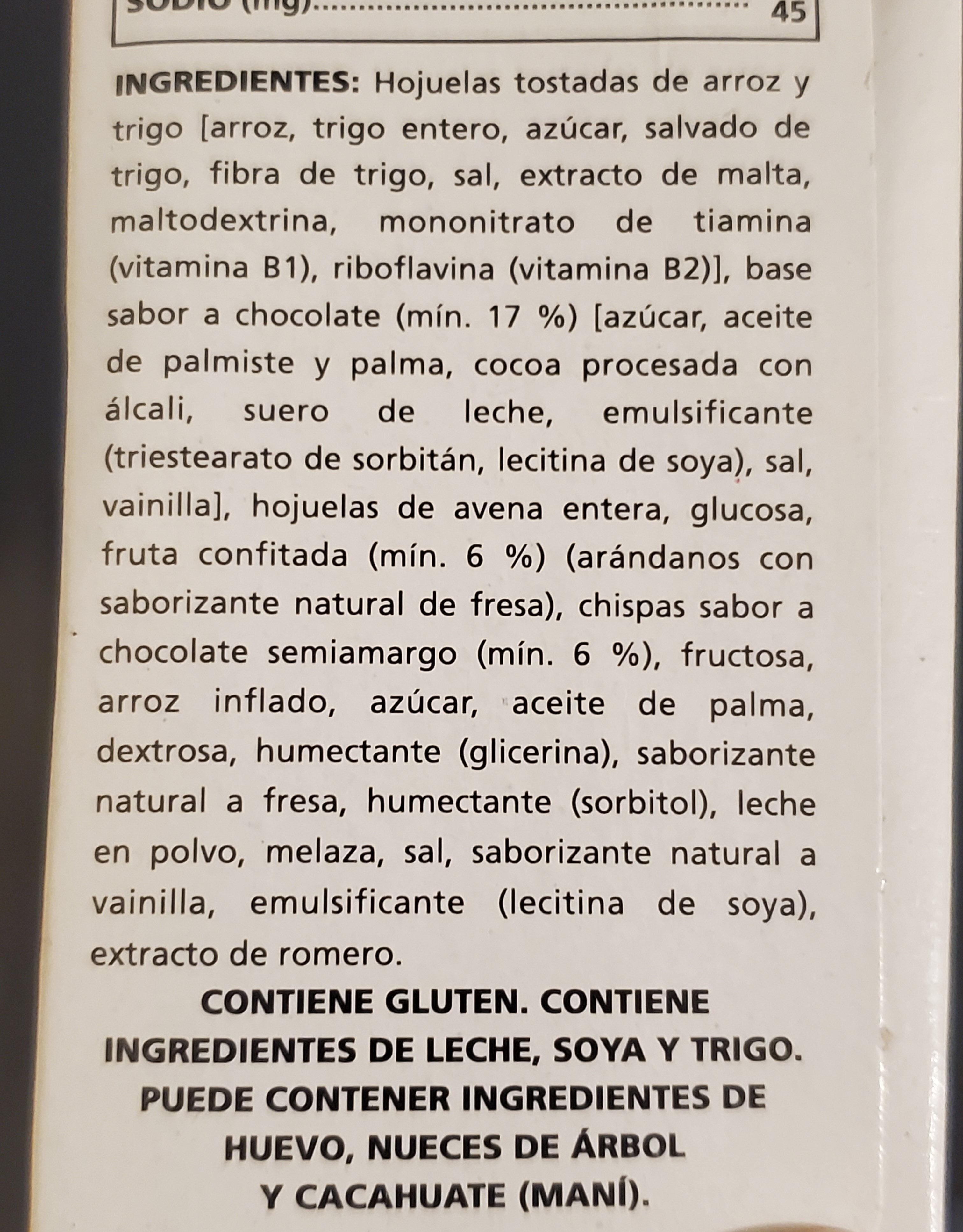 Special K chocolate y fresa - Ingredientes - es
