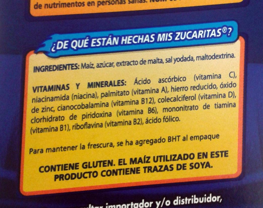 Zucaritas - Ingredientes - es