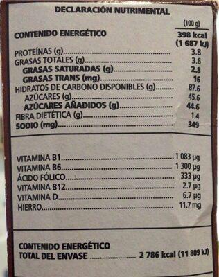 Zucaritas - Información nutricional - es