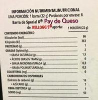 Special K pay de queso y frambuesa - Voedingswaarden - es