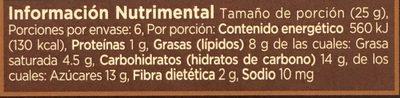 Chocolate amargo - Informations nutritionnelles - es