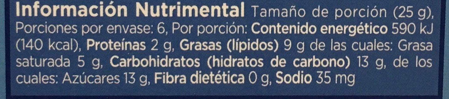 Chocolate blanco - Informations nutritionnelles - es