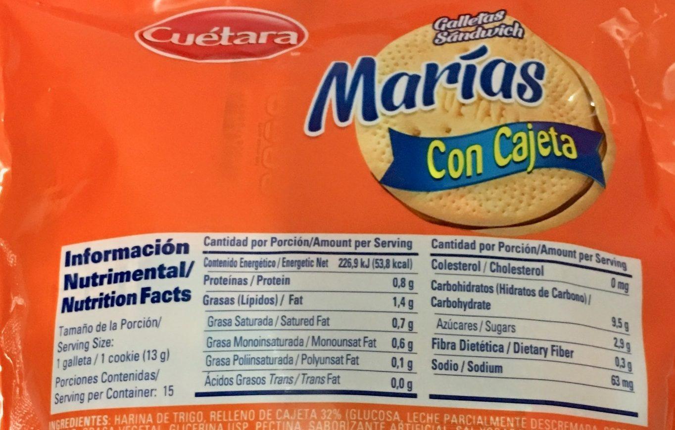 Marías con cajeta - Voedingswaarden
