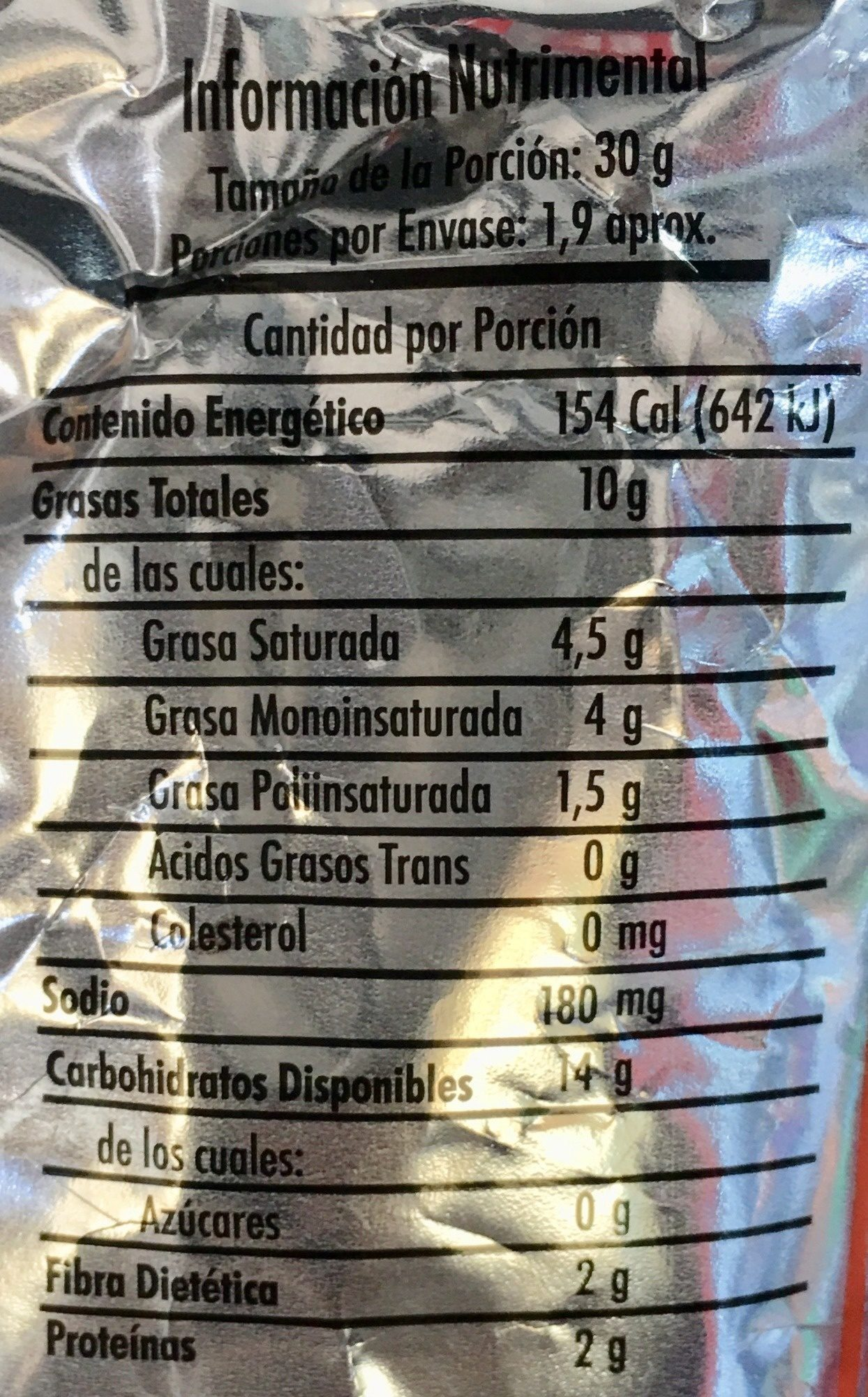 Frit-os Chile y Limón - Nutrition facts - es