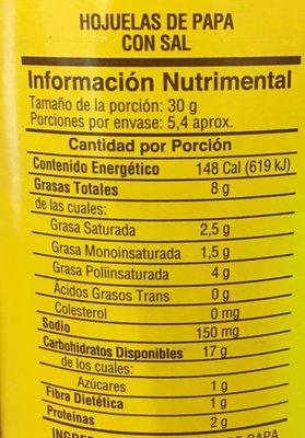 Sabritas Stax Original - Informations nutritionnelles - es