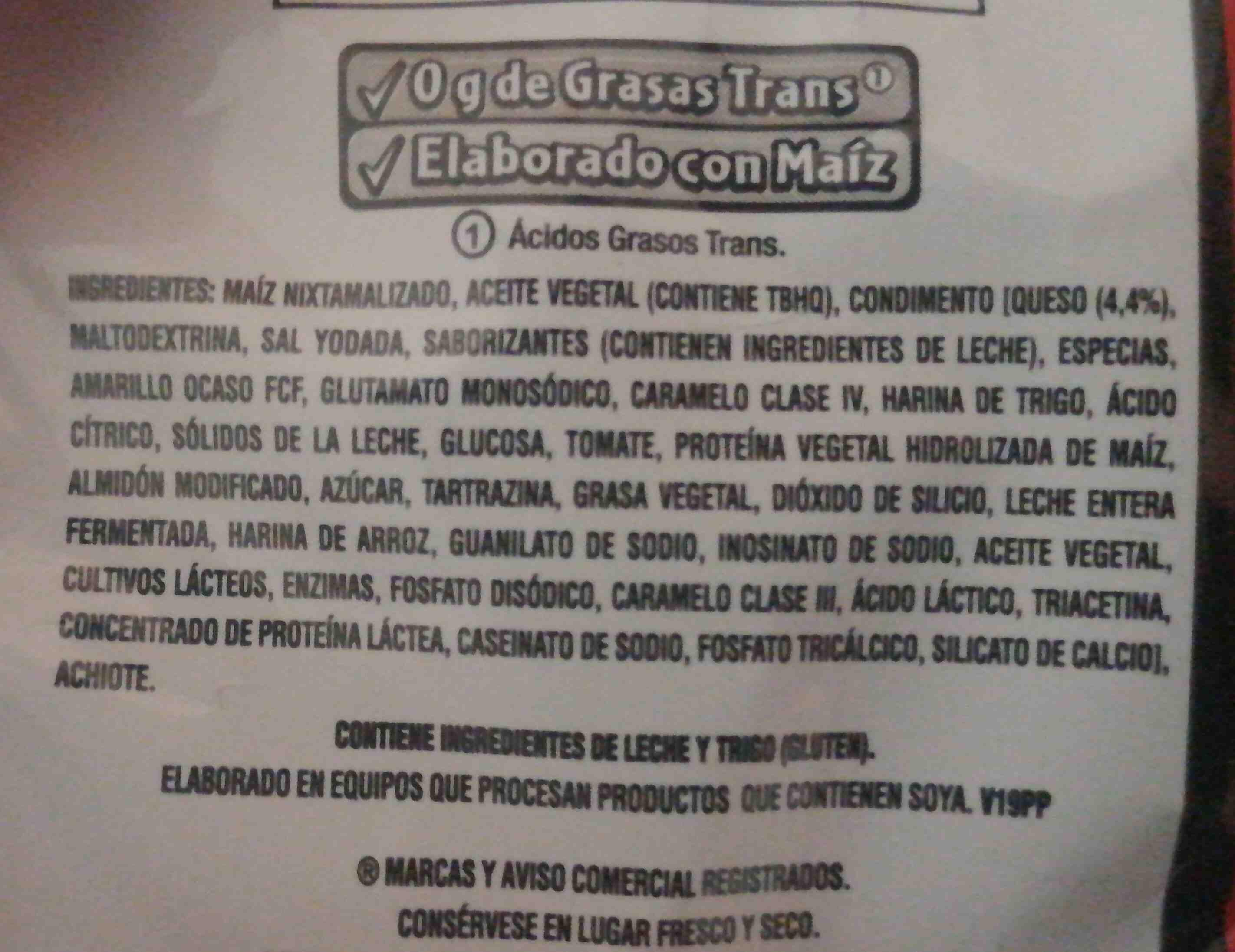 Doritos nacho 23g - Ingredientes - en