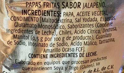 Sabritas receta crujiente sabor jalapeño - Ingrédients - es