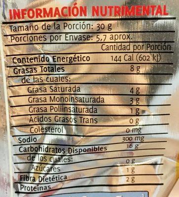 Sabritas receta crujiente sabor jalapeño - Informations nutritionnelles - es