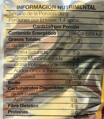 Sabritas Flamin Hot - Informations nutritionnelles