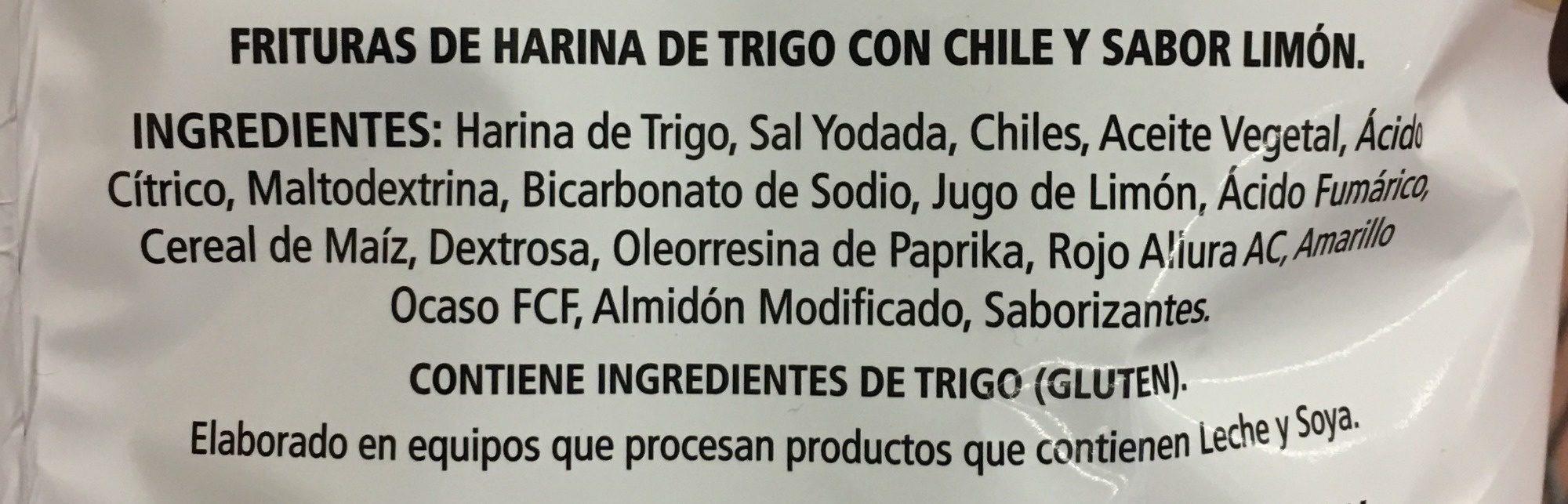 Sabritones - Ingredients - es