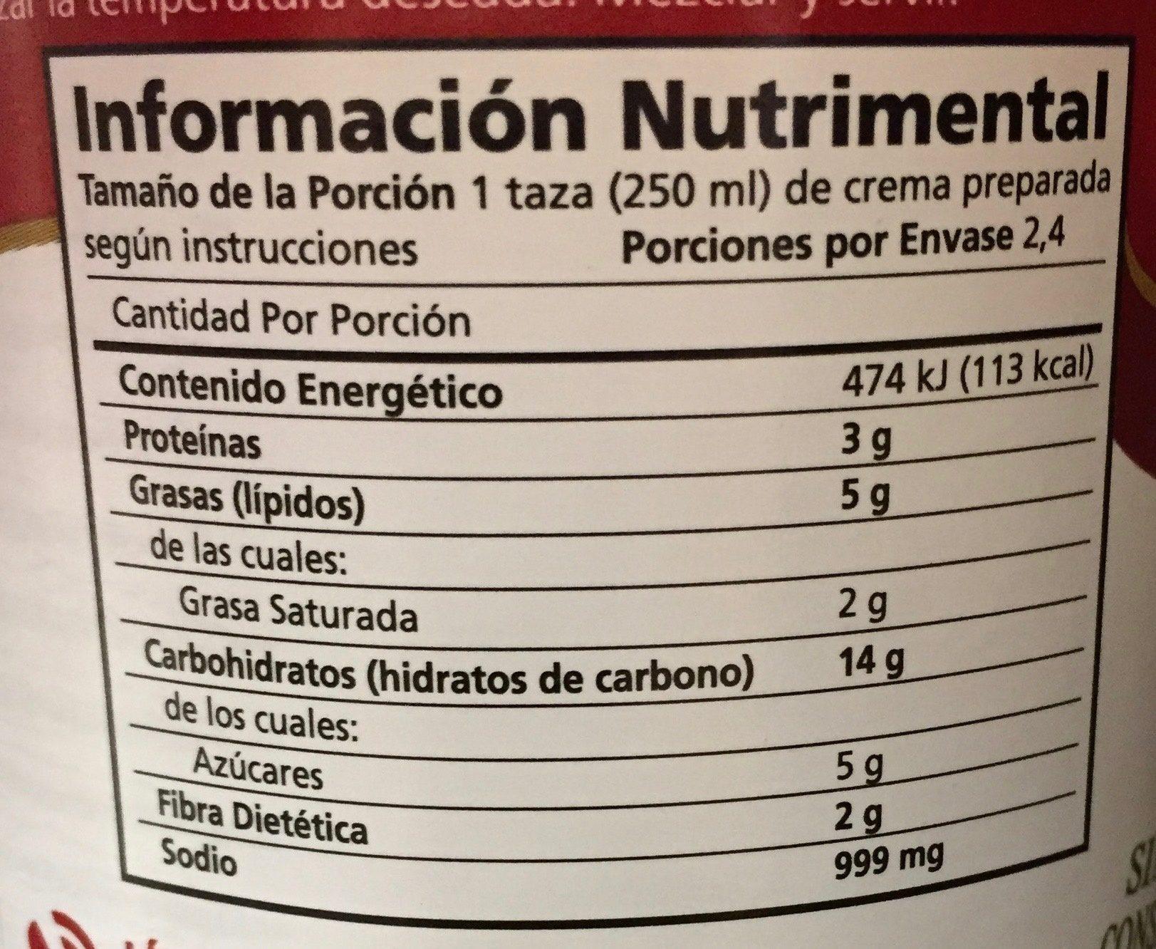 CREMAS CHILE POBLANO - Información nutricional - es