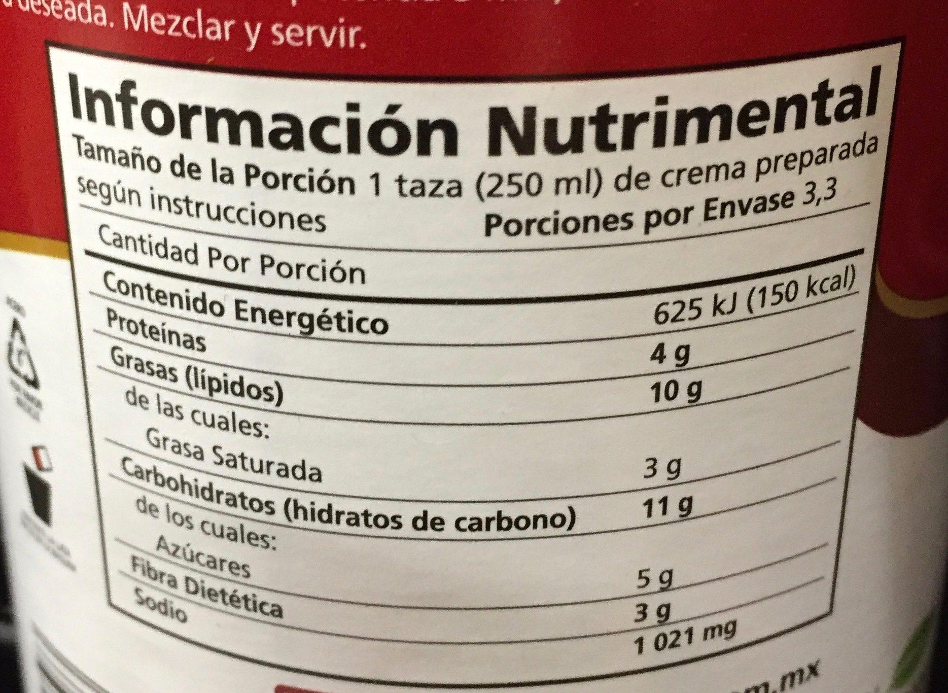 CREMAS DE QUESO - Información nutricional - es