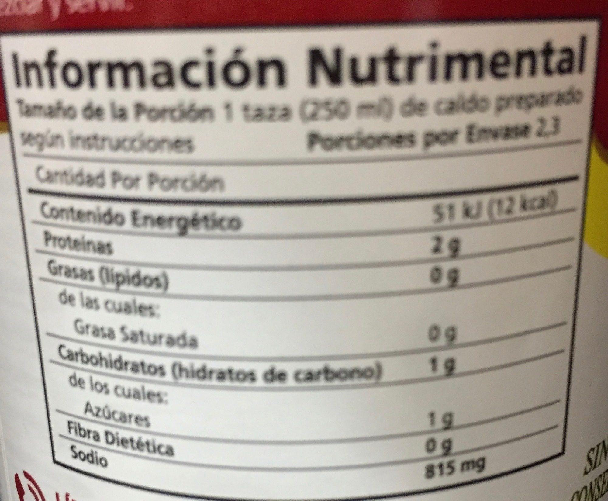 CALDO DE RES - Información nutricional - es