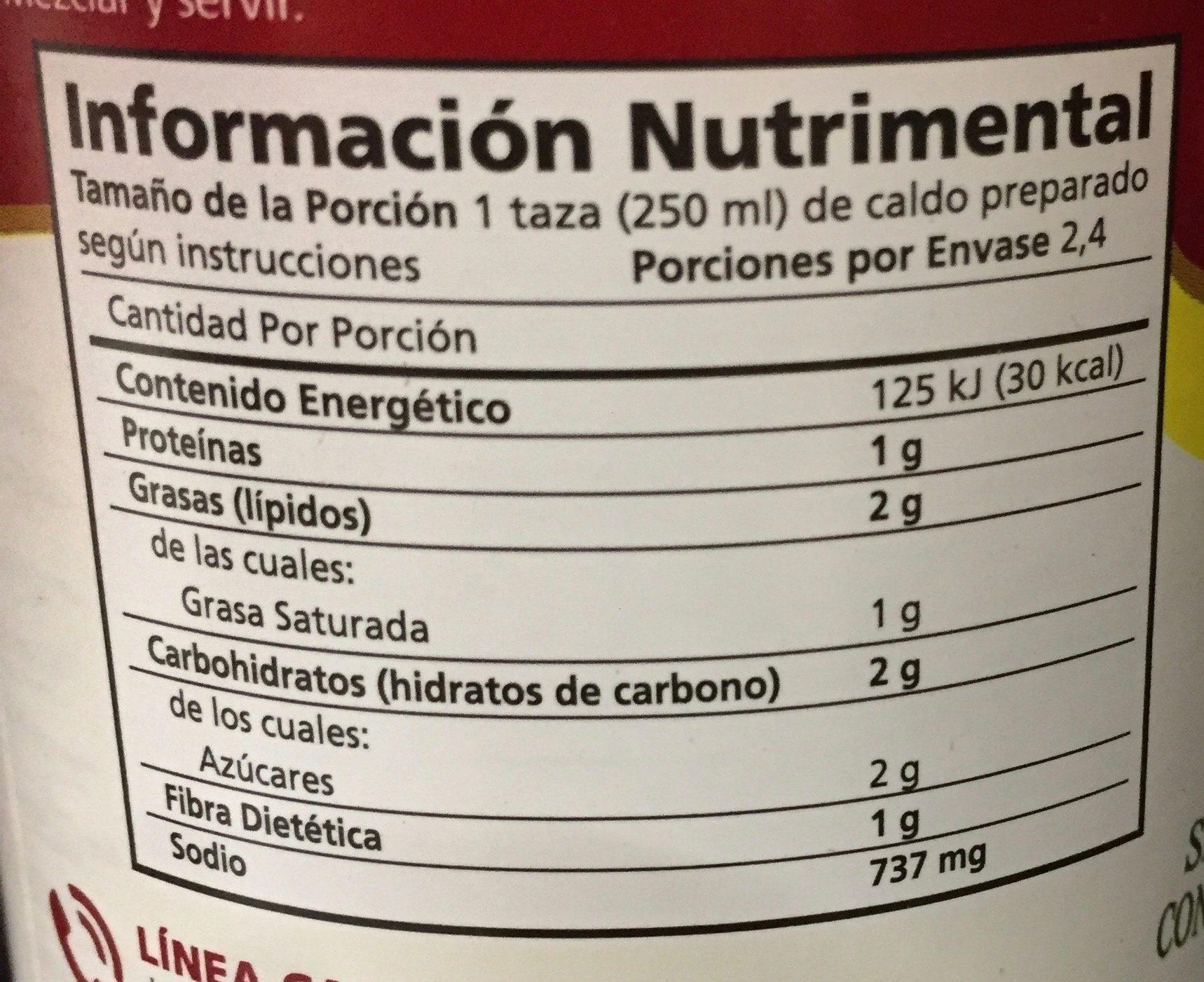 SOPA DE TORTILLA - Información nutricional - es