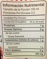 CALDO DE RES SIN GRASA - Información nutricional - es