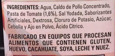CALDO DE POLLO CON TOMATE SIN GRASA - Ingrediënten - es