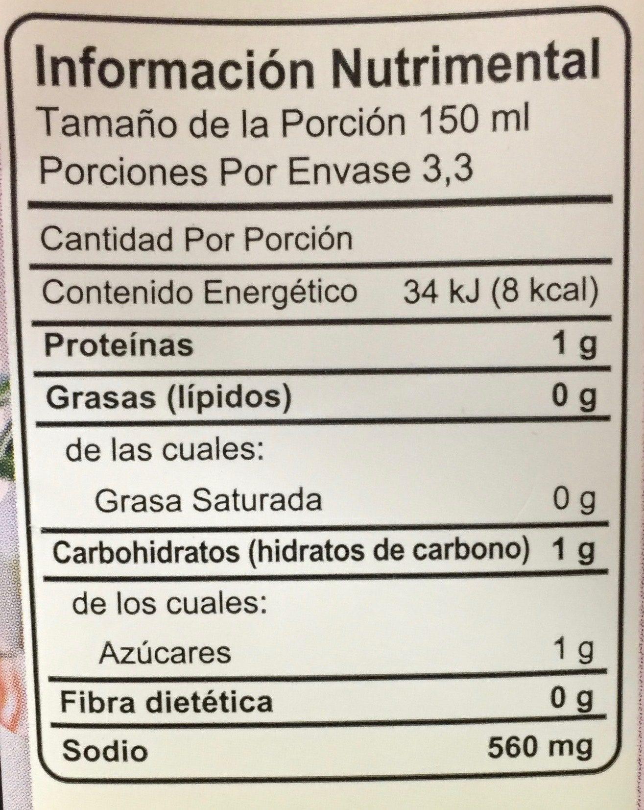 CALDO DE POLLO CON TOMATE SIN GRASA - Información nutricional - es