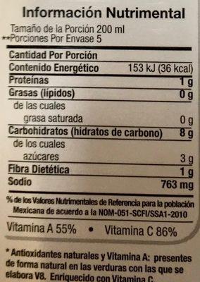 V8 jugo de verduras - Información nutricional - es