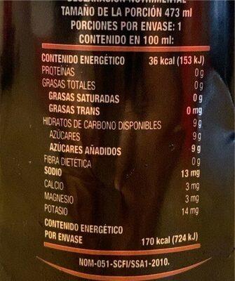 Jumex jugo de arandano - Información nutricional - fr