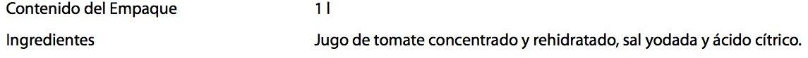 Jumex Tomate - Ingredientes - es