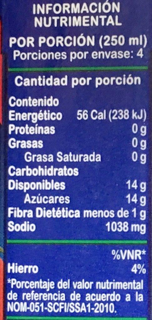Jumex Tomate - Información nutricional - es