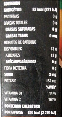Jugo naranja jumex - Información nutricional - es