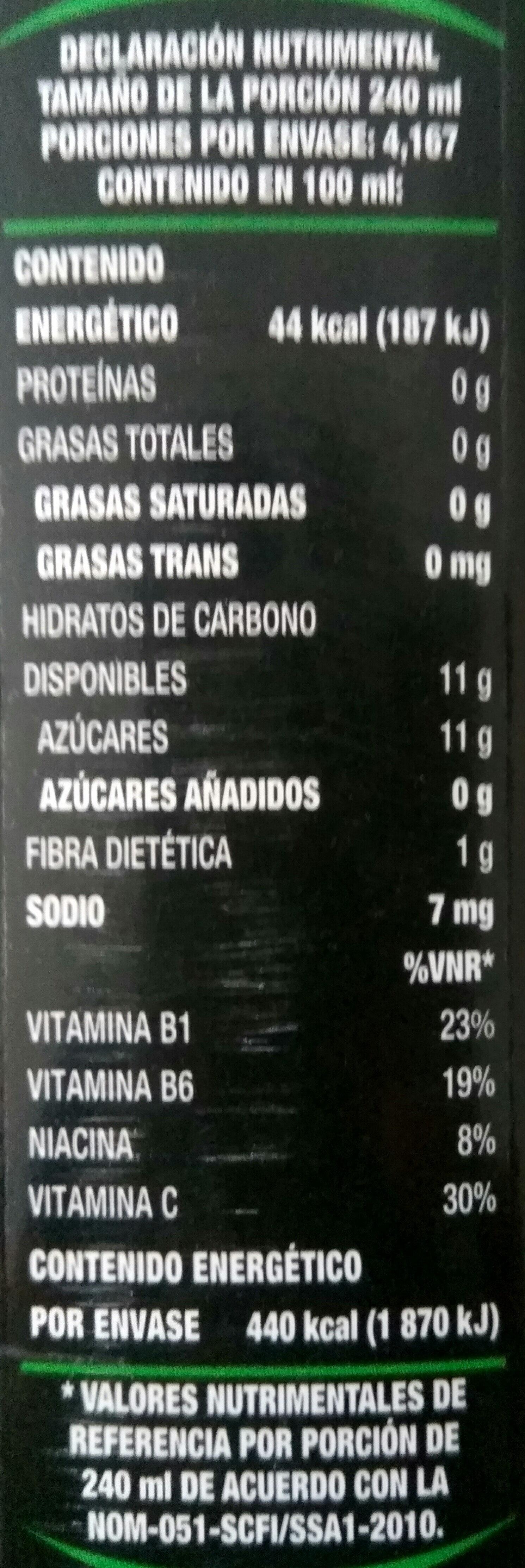 Único fresco jugo verde - Información nutricional - es