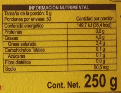 MANTEQUILLA UNTABLE CON SAL - Nutrition facts