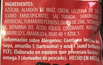 Polvo para preparar bebida sabor a chocolate - Ingrediënten