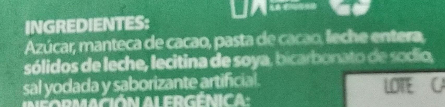 Tabikla de chocolate con leche - Ingredients