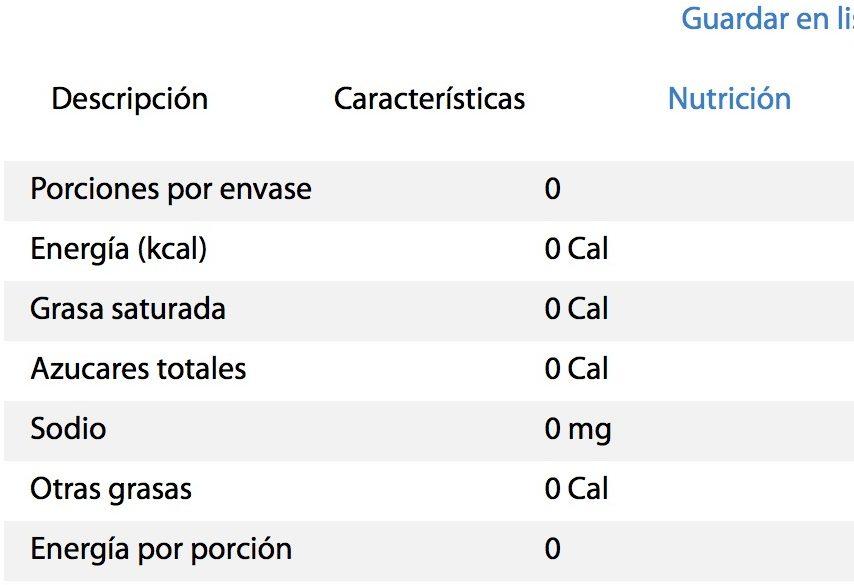 Vinagre blanco La Costeña - Nutrition facts