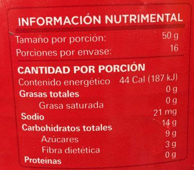 GUAYABAS EN ALMÍBAR ENTERAS - Informations nutritionnelles - es
