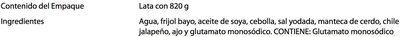 FRIJOLES BAYOS REFRITOS - Ingrediënten - es