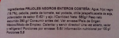 Frijoles negros enteros lata 560 g - Ingrédients - fr