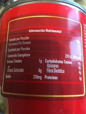 Frijoles Bayos Enteros - Informations nutritionnelles - fr