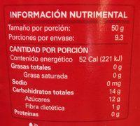 PURÉ DE MANZANA - Informations nutritionnelles - es