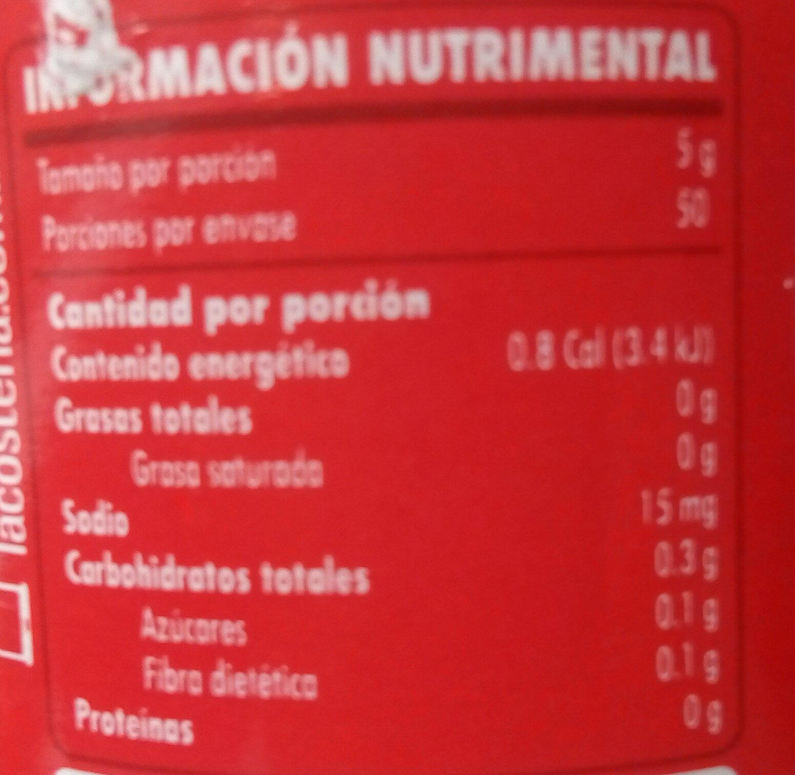Salsa Arriera - Información nutricional - es