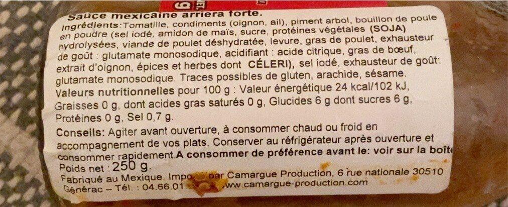 Salsa Arriera - Informations nutritionnelles - fr