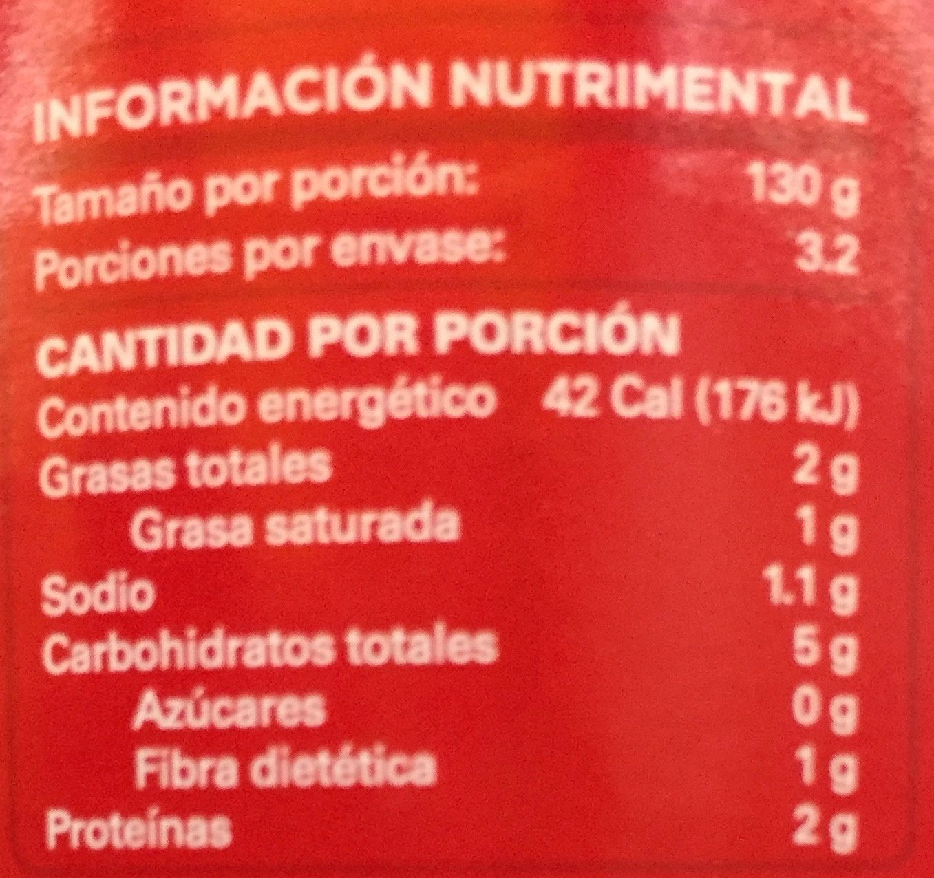 SALSA VERDE PARA ENCHILADAS - Nutrition facts