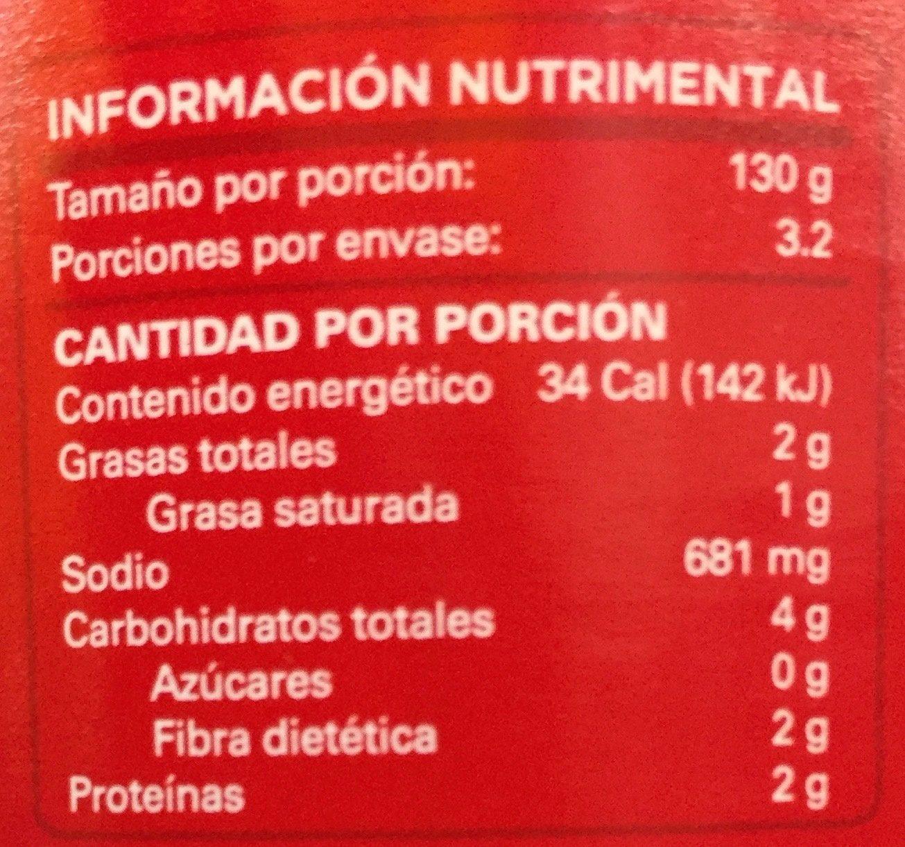 SALSA ROJA PARA ENCHILADAS - Nutrition facts
